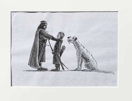 'You need to look after Wales'. The very first drawing from 'The Dog Hunters'. $NZ300 (approx $US200, £153, €170)
